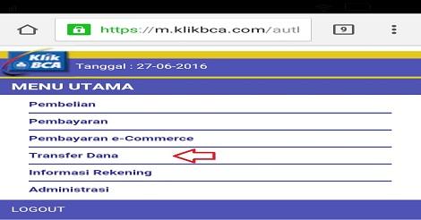 Cara Transfer Internet Banking BCA